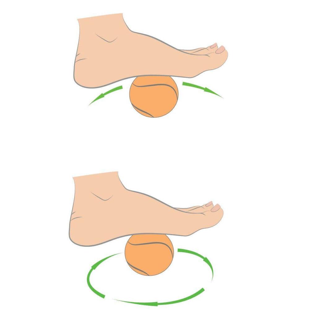 עיסוי כף הרגל עם כדור טניס